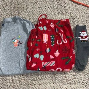christmas pajamas and socks!! old navy!! worn once
